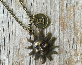Sun Necklace/ Pewter Sun Necklace/ Bronze Pewter Sun Necklace/ Custom Necklace/ Sun Initial Necklace/ Bronze Sun
