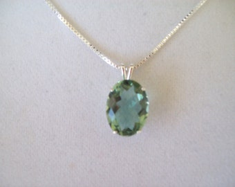 Genuine Prasiolite Green Amethyst Pendant in Sterling Silver 16x12m