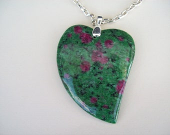 Pink and Green ruby in fuschite Heart Pendant