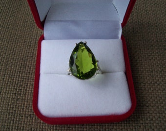 Peridot Green Pear Ring Sterling Silver - Huge 18x13 mm