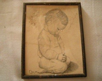 vintage pencil drawing-little boy praying-little boy bedroom-wall decor-religious-spirituality-retro-