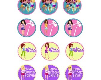 Lego Friends Cupcake Toppers, Free Birthday Sign Included