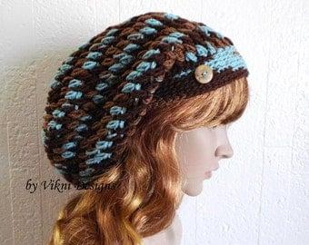 Slouchy Beanie, Earth & Sky Multicolor Slouch Beanie, Womens Knit Beanie, Winter Hat, Womens Crochet Hat by Vikni Designs