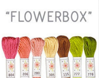 Sublime Stitching Embroidery Floss Set -Flowerbox - Floral Color Embroidery Thread -Embroidery Cottons 6-ply floss skeins -Colored floss kit