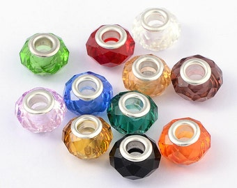 Glass European Beads, with Plating Silver Double Cores, Qty 20, Faceted, Rondelle, Mixed Color, 14x8mm, Hole: 5mm  #130