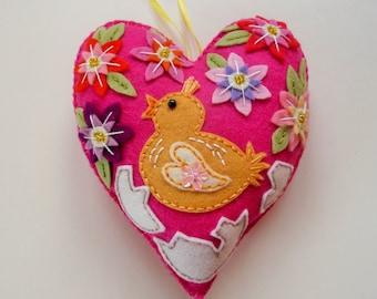 Easter Chick Ornament, Felt Heart Ornament, Easter Ornament, Spring Decor, Doorknob Pillow, Doorknob Hanger, Felt Chick, Easter Decoration
