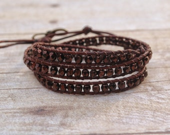 Chocolate Leather wrap bracelet, beaded leather bracelet, bead bracelet, leather bracelet, womans gifts, jewelry gifts, woven bead bracelet