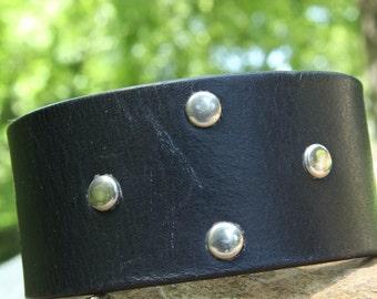 Leather cuff bracelet unique handmade jewelry, upcycled leather belt bracelet, leather jewelry, upcycled leather jewelry, black leather cuff