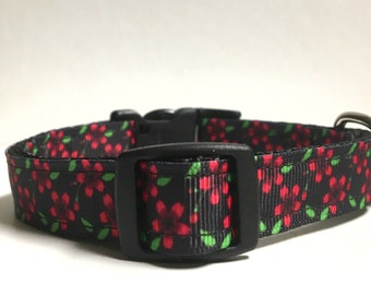Black and pink green floral collar