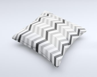 The Grayscale Gradient Chevron Zigzag Pattern ink-Fuzed Decorative Throw Pillow