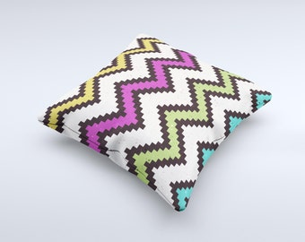 The Multicolored Pixelated ZigZag CHevron Pattern ink-Fuzed Decorative Throw Pillow