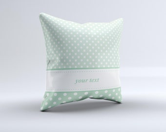 The Vintage Light Green Polka Dot With White Strip ink-Fuzed Decorative Throw Pillow