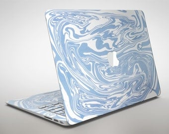 Marbleized Swirling Subtle Blue - Apple MacBook Air or Pro Skin Decal Kit (All Versions Available)