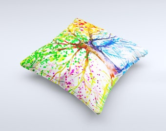 The Abstract Colorful WaterColor Vivid Tree V3 ink-Fuzed Decorative Throw Pillow