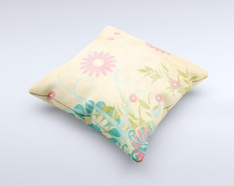 Vintage Golden Flowers ink-Fuzed Decorative Throw Pillow