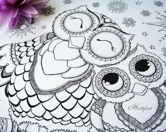 cutest mama baby owl coloring page bundle - Cute Halloween Owl Coloring Pages