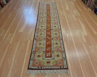 Turkish Rug Runner Vintage Oriental Rug 2' 4 x 9' 8 Brown