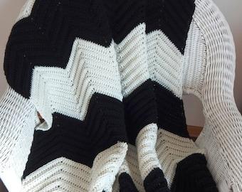 SALE Crochet Blanket Afghan Throw - Chevron Afghan Blanket - Home Decor Throw - Chevron Throw - Black and White Stripes