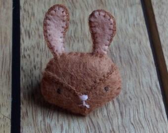 Bunny Brooch - Brown Rabbit Buddy Brooch
