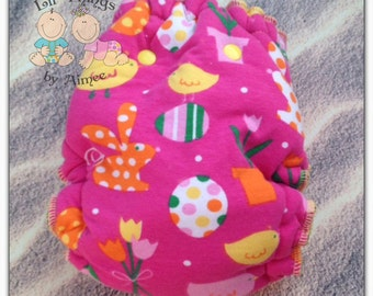 REDUCED - PETITE Chicks & Bunnies Wind pro Hybrid Fitted Cloth Diaper