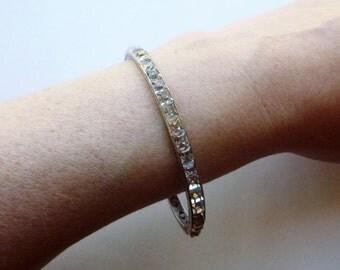 Art Deco sterling silver channel set crystal paste stone engraved bangle bracelet