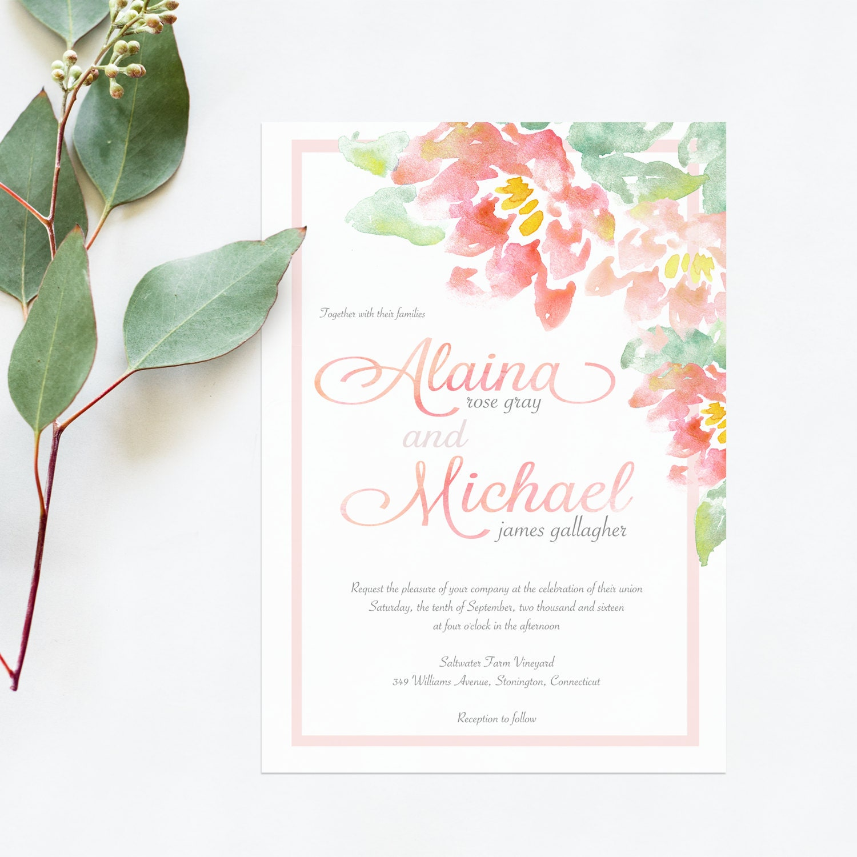 Blush And Mint Wedding Invitations Watercolor Wedding