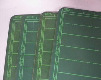 Vintage Set of 4 Green Slate School Chalkboards - Green Kitchen Chalk Boards