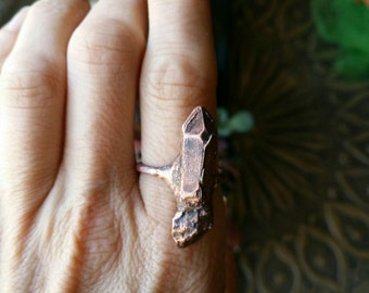 Copper electroformed clear quartz  ring
