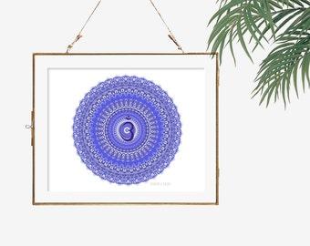 Third eye chakra art indigo blue wall decor lilac purple bedroom decor yoga artwork brow sixth chakra poster Ajna mandala wall decor purple
