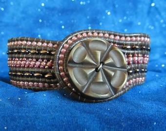 Leather Beaded Cuff Bracelet