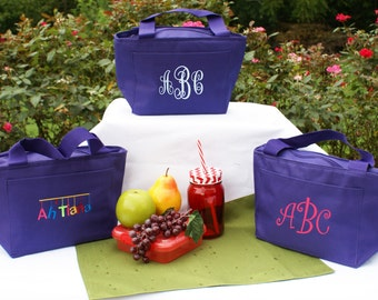 Lunch tote bag, purple, personalized, lunch box insulated, monogrammed,cooler,gift, kids, teacher back to school tote