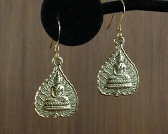 Tibetan Buddha Leaf Charm earrings