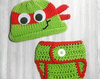 Newborn Crochet Outfit, Newborn Ninja Turtle Baby Boy Ninja Turtle, Newborn Turtle Outfit, newborn photo prop, crochet baby turtle outfit