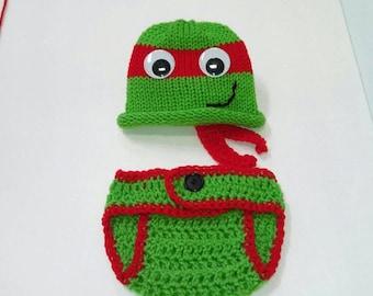 Newborn Crochet Outfit, Newborn Ninja Turtle Baby Boy Ninja Turtle, Newborn Turtle Outfit, newborn photo prop, crochet baby turtle outfit,