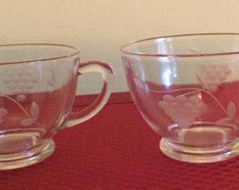 Set of 12 Vintage Punch Etched Glass Cups
