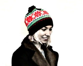 PDF Knitting Pattern - Fair Isle Pattern - Beanie Hat - Bobble Hat - Pom Pom - Vegan