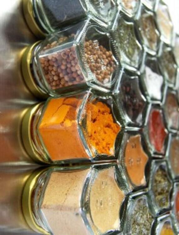 Magnetic Spice Jar Spice Set Honeycomb Design By