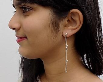 silver dangle earrings,long earrings,for her,for teens.