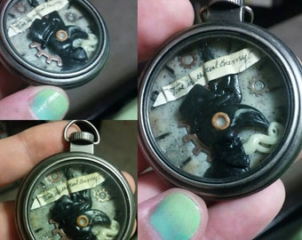 Steam Punk Plauge Doctor Pocket Watch Necklace