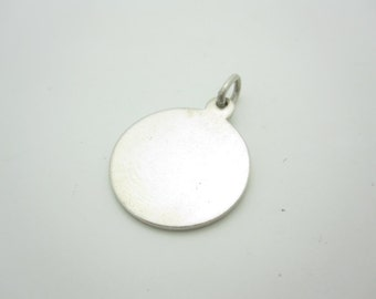 Vintage Tiffany & Co. Makers Sterling Silver Plain Round Tag Charm Pendant