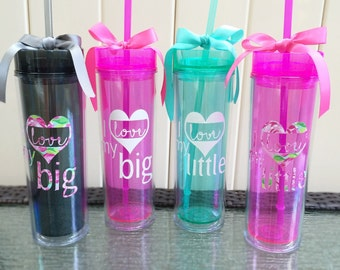 I Love My Big & Little Tumbler in Lilly Pulitzer or White Sorority Tumbler Skinny 16oz Cup with Straw