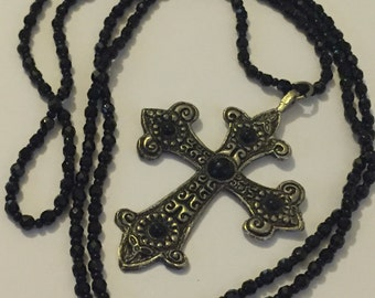Vintage French Jet Glass Necklace With Huge Enamel Gothic Crucifix