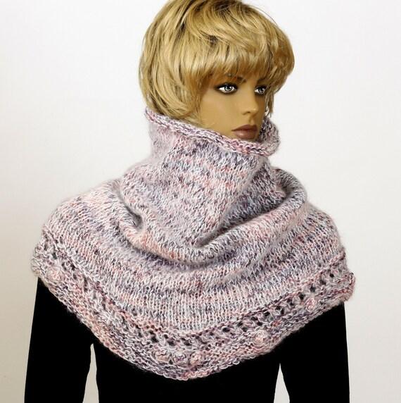 Knitting Pattern Chunky Cape : Chunky knit scarf cowl Bulky cape Fluffy bib Hooded knit scarf