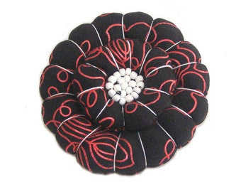 Big Bold Flower Brooch, Black Flower Pin, Statement Jewelry, Red Black White