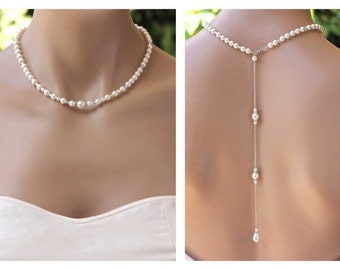 Pearl Back Drop Necklace, Bridal Backdrop Pearl Necklace, Bridesmaids Necklace , Wedding Necklace,