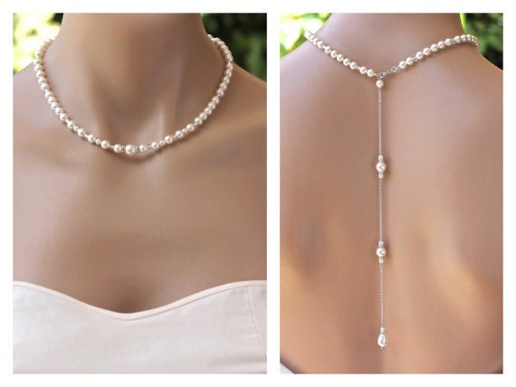Pearl back drop necklace bridal backdrop pearl necklace for Back necklace for wedding dress
