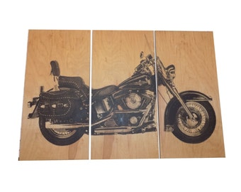 Harley Davidson Heritage Soft Tail  Motorcycle / Bike / Screen Print Wood Painting Wall Art on Stained Solid BIRCH 3/4 inch thick