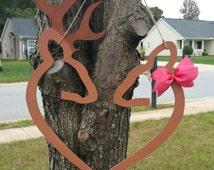 Browning Deer Heart Wooden Door Hanger / Wreath Alternative