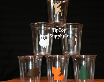 24 Woodland Creatures 10 oz. 12 oz. or 16 oz. disposable Cups. Fox, owl, deer, evergreen tree, squirrel, Birthday Party, Baby Shower. C-249