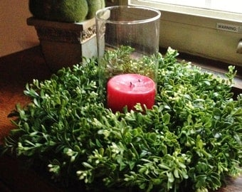 Candle Boxwood Wreath, Candle Ring Wreath, Artificial Boxwood Wreath, Boxwood Decor
